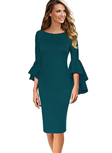 VFSHOW Womens Ruffle Bell Sleeves Business Cocktail Party Sheath Dress 1702 GRN L Dark Green