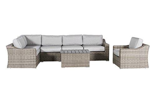 Aluminium Outdoor Furniture - Century Modern Outdoor Marina Collection Patio Sofa Set, Wicker Rattan Outdoor Seating Aluminium Frame Resort Grade Furniture with Cushioned Seat by 7 Piece (Conversation Set)
