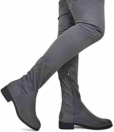 10f93946616 MVE Shoes Women s Fashion Comfy Vegan Suede Block Heel Side Zipper Thigh  High Over The Knee