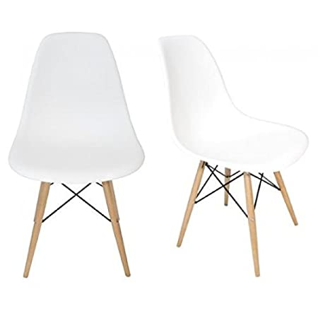 amazon com ariel dsw molded white plastic shell chair with wood