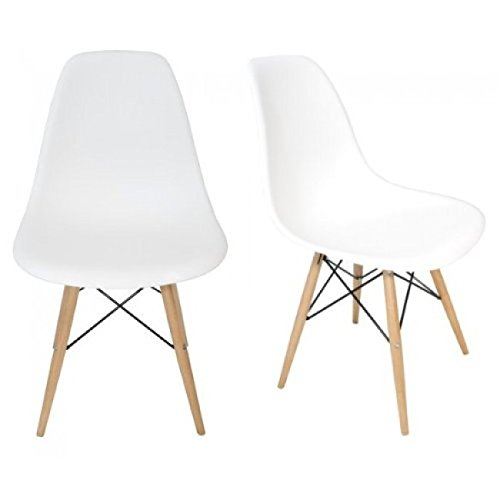 Amazon.com   Ariel DSW Molded White Plastic Shell Chair With Wood Eiffel  Legs Set Of 4   Chairs