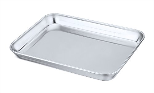 Toaster Oven Tray Pan, P&P CHEF Stainless Steel Broiler Pan, Small Rectangle 9''x7''x1'', Non Toxic & Heavy Duty, Easy Clean & Dishwasher Safe
