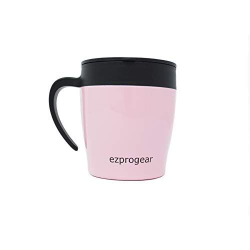 Ezprogear Double Wall Stainless Steel 11 oz Insulated Coffee Mug with Slider Lid (Pink) (Mug 11 Pink Ounce)