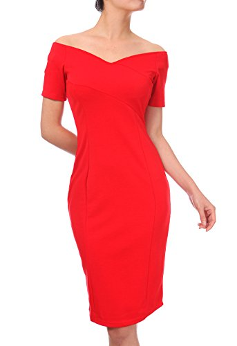 21dressroom Women Dresses, Short Sleeve Sexy Dress, Elegant Midi Dress, Red Dress Medium