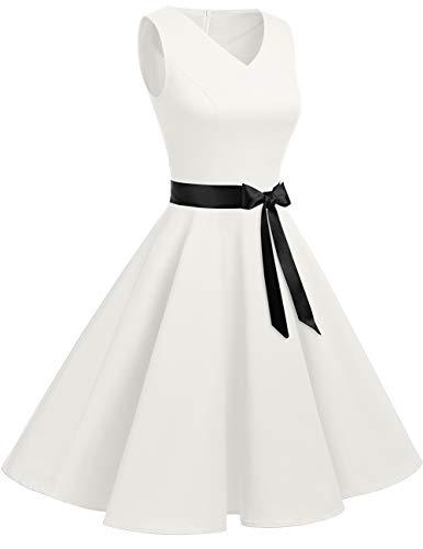 Mangas Corto Retro Bridesmay Pico White Sin Mujer Vestido Off Vintage Escote En 8R80B