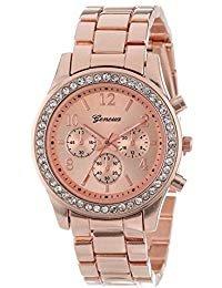 Rose Gold Watch Women Luxury Brand Hot Geneva Ladies Wristwatches Gifts for Girl Full Stainless Steel Rhinestone Quartz Watch (Rose Gold)