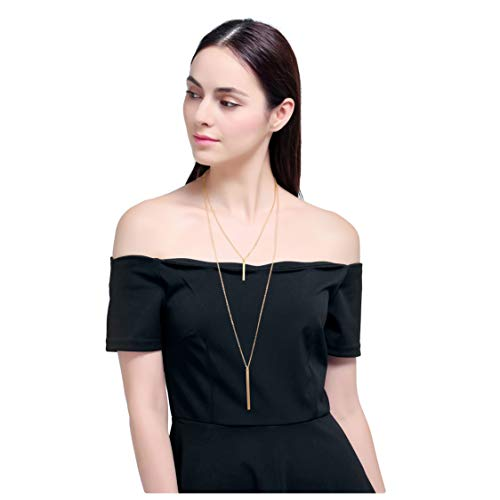 Culovity Exquisite Layered Bar Pendant Necklaces Jewelry Multilayer Long Lariat Chain Women Gold Filled (Gold Filled Costume)