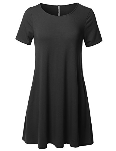 Awesome21 Solid Round Neck Short Sleeves Dress With Side Pocket Black L (Spandex Rayon Jersey Dress)