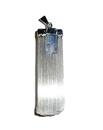 1pc Selenite Blade with Blue Kyanite Mini Haystack Healing Crystal Silver Metal (Kyanite Moonstone Necklace)