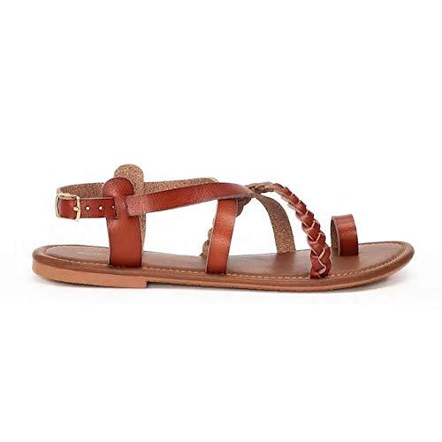 SONOMA Goods for Life Womens Strappy Braided Toe Loop Sandals, Cognac, Medium (7-8) - Sonoma Cognac