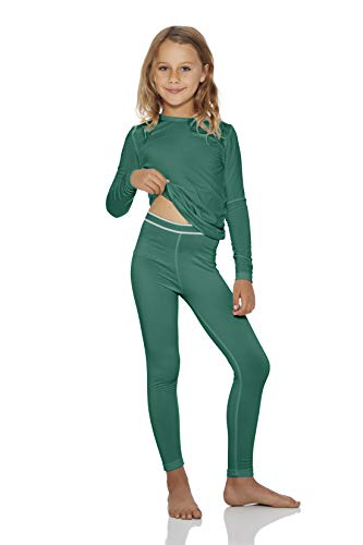- Rocky Girls Fleece Lined Thermal 2PC Underwear Set Top and Bottom (S, Jade)