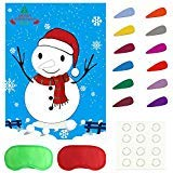TUPARKA Pin The Nose on The Snowman Holiday Reusable Game Christmas Party Games with 24 Noses and Blindfold for for Kids and Adults, Holiday Party Favor Supplies -