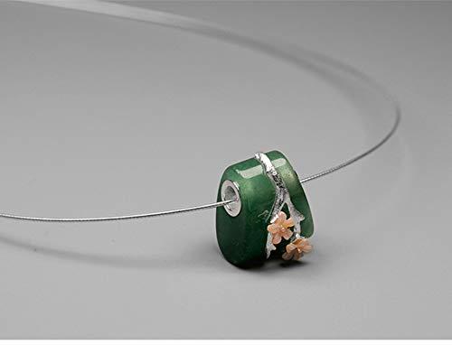 Acecare Sterling Silver Natural Aventurine Gemstone Creative Fine Jewelry Vintage Plum Flower Pedant Without Necklace (Aventurine)