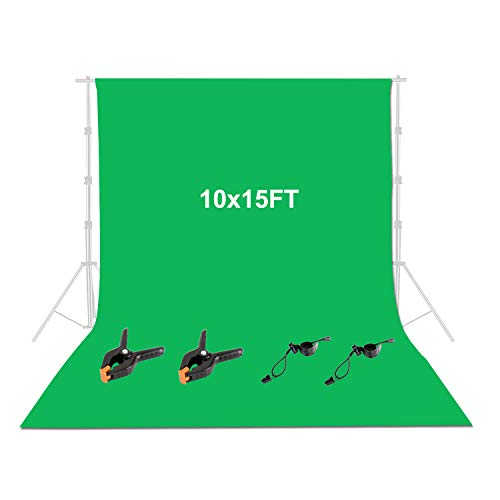 FUDESY 10x15Ft Green Screen Backdrop,Muslin Photography Background for Photo Video Studio, 2xSpring...