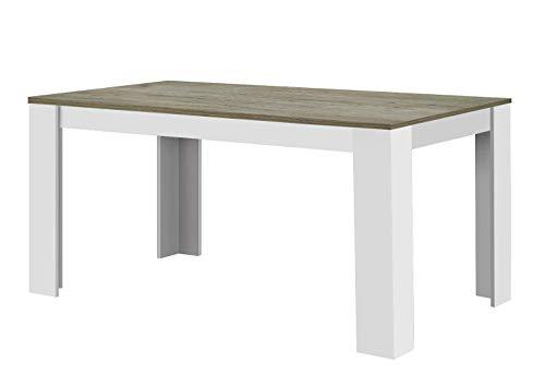Agionda® Toledo - Mesa de comedor en color blanco roble, roble Nebraska, 120 x 80 cm, superficie de melamina resistente a los arana
