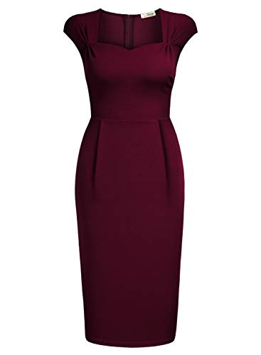 - AISIZE Wowen 1950s Wrap Sweetheart Neckline Cap Sleeve Cocktail Pencil Dress Burgundy