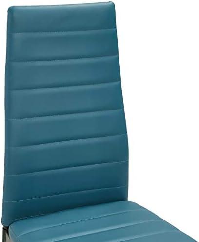 SKM Chaises de Salle à Manger 2 pcs Bleu Marine Similicuir
