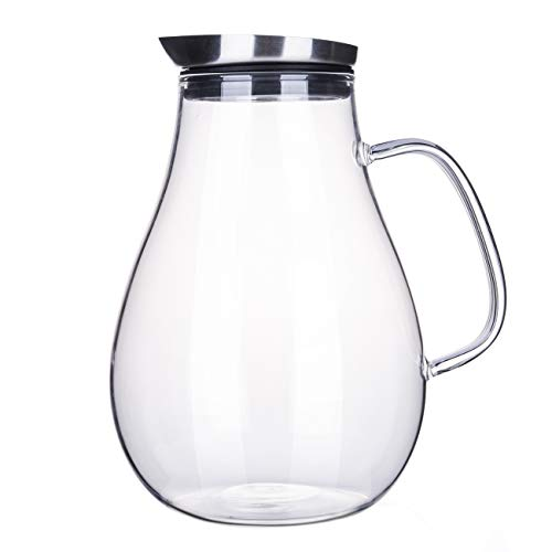 - 2.0 Liter Glass Pitcher with Lid, Water Carafe Jug for Hot/Cold Water, Ice Tea and Juice Beverage