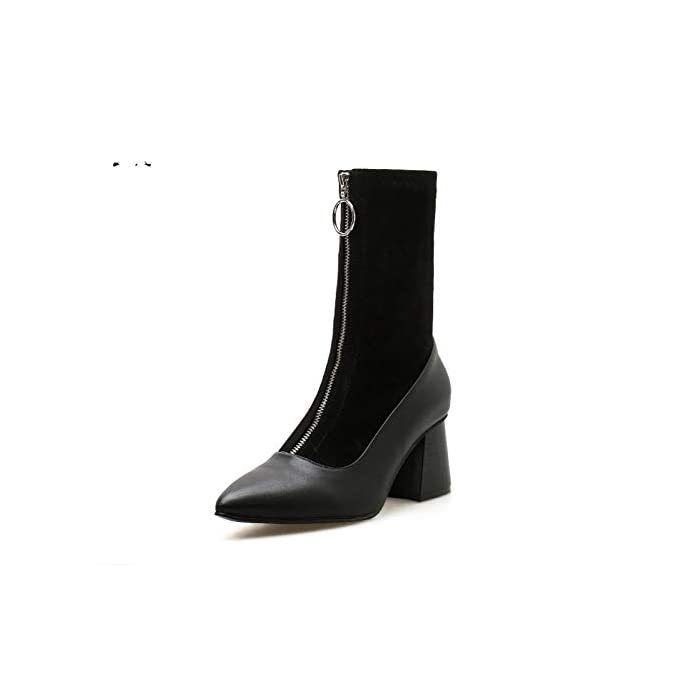 Zipper De Alti Pelle Alto Tacón In A Scarpe Boots Stivaletti Punta Basla Botines Stretch Sock Invernali Donna Tacchi