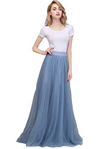 Honey Qiao Maxi Skirt Tulle Bridesmaid Dresses High Waist Floor Length Long Woman Dusty ()