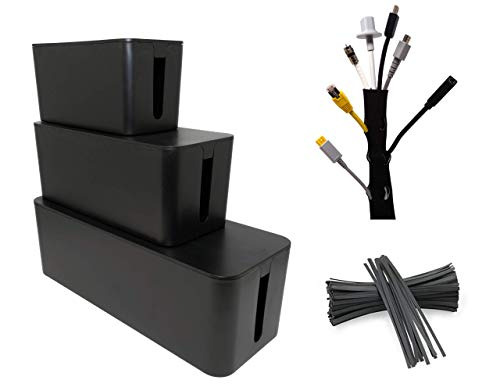 Cable Management Boxes (3-Pack)  w/ 20 Twist Ties and Cable Sleeve | TV and Under Desk Computer Cord Organizer Kit | Hide and Store Wires, Power Strips, USB Hubs by SafeCable
