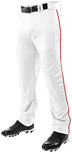 ChamproメンズTriple Crown Open Bottom Piped Pants B0182NKSGW Small|White|Scarlet White|Scarlet Small