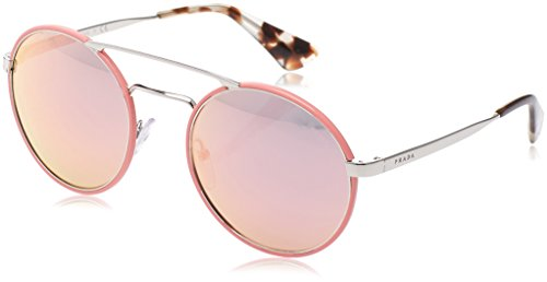 Prada Women's 0PR 51SS Silver/Pink/Grey Mirror Rose Gold - Sunglass Warranty Prada
