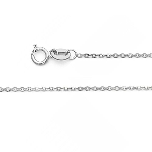 14k Solid White Gold 1.2mm Diamond Cut Rolo Cable Chain Link Necklace with Spring Ring Clasp - 22