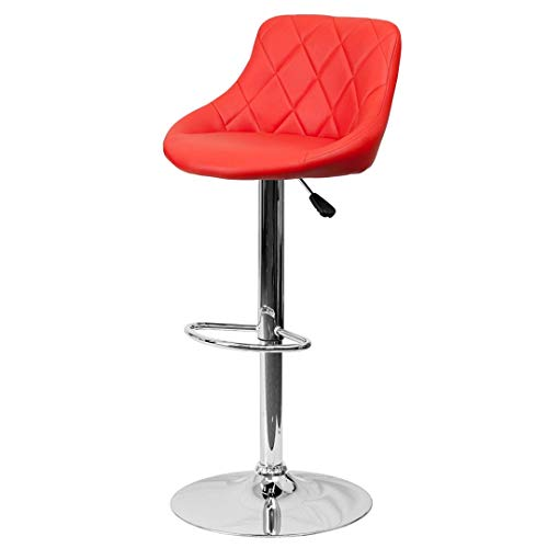(Modern Style Bar Stools Low Back Horizontal Stitched Design Durable Vinyl Upholstery Height Adjustable 360-Degree Swivel Seats Drafting Dining Chair Bar Pub Home Office Furniture - [1] Red #2242)
