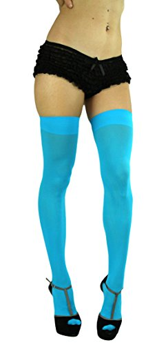 ToBeInStyle Women's Long Schoolgirl Stockings (Neon Blue)