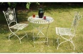 amorettia mesa bistro de jardín hierro forjado, 70 cm de diámetro, en color crema – Sillas a juego disponible.: Amazon.es: Jardín