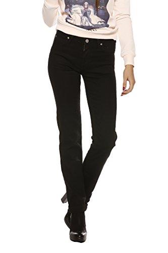 Lee Marion Straight Black Rinse, Jean Droit Femme Noir (Black Rinse 47)