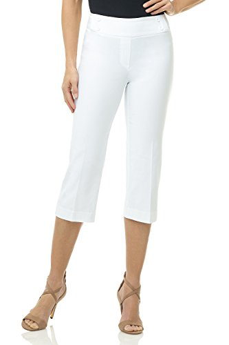 Rekucci Women's Ease in to Comfort Fit Capri with Button Detail (4SHORT,White) (Best Mid Rise Jeans)