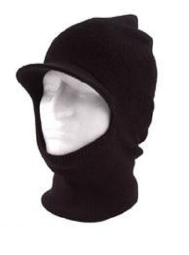 Black Knit One 1 Hole Visor Balaclava Winter Brimmed Face Sk