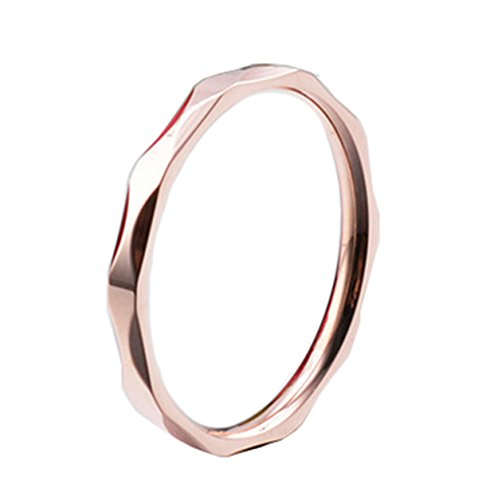 Quentin Lincoln Couple's Skinny Hammered Stacking Titanium Diamond Sharp Rings Two Set in Rose Gold Silver Minimalist Delicate Jewelry (Rose-Gold-Plated-Titanium, 8) ()