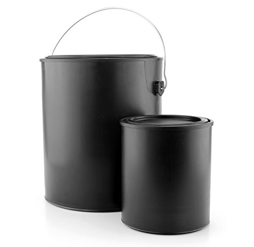 Black Paint Cans Gallon & Quart Plastic (1 Gallon Can, 1 Quart Can); Matte Finish; All-Plastic w/ Snap-tight Lids for Paints, Varnishes, & Crafts