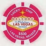 Las Vegas Tin Magnet $500 Pink Poker Chip 2.5'' Across Very Large Silver Dollar Size)