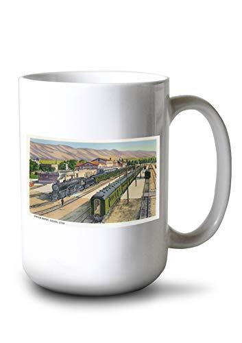 Lantern Press Ogden, Utah - View of Trains at Union Depot (15oz White Ceramic Mug) ()