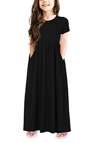 (Gorlya Girl's Short Sleeve Floral Print Loose Casual Holiday Long Maxi Dress with Pockets 4-12 Years (9-10Years/Height:140cm, Black)