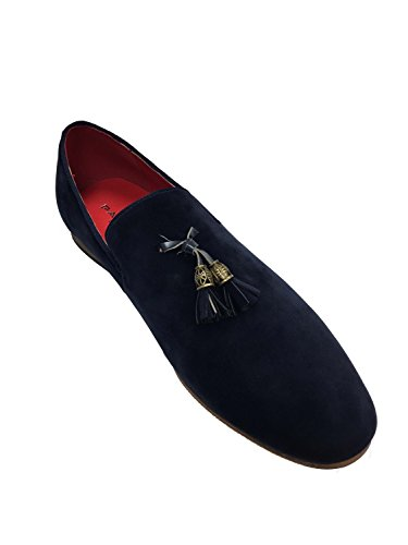 london fashion Mens Slip On Tassel Driving Shoes Faux Suede Loafers Comfortable Navy av3j7ouruQ