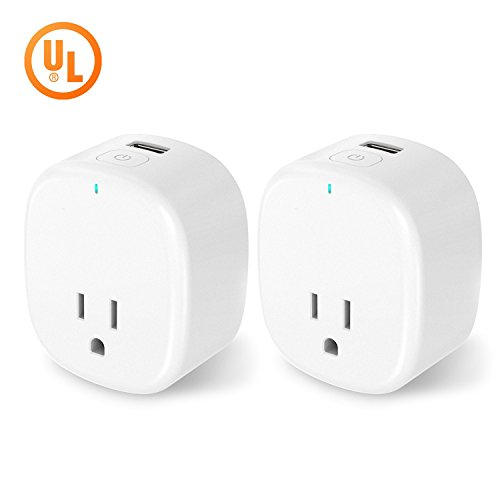 Wifi Smart Plug, YCGRE 2 Pack Mini Smart Outlet Wireless Socket with USB Charging Port, Compatible with Alexa & Google Home, UL Listed, No Hub Required -  YCWMSP022P
