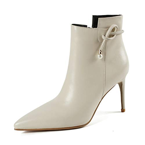 HAOLIEQUAN Chaussures Femmes Talon Haut Fines Bottines Femmes Fermeture Éclair Élégant Plate-Forme Chaussures Chaussures Femmes Noir Élégant Éclair Taille 34-43 39|Beige 168aab