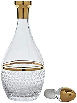 13 H-42 oz Luxury Wine Bottle Aerator Glazze Crystal RMC-150-GL Premium Glass Decanter and Stopper with Real 24K Gold Detailing