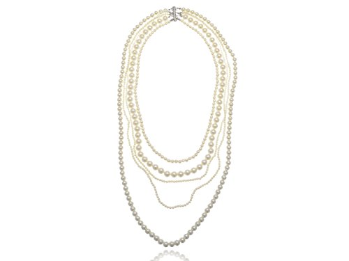 (Alilang White Ivory Faux Pearl Flapper Costume Layered Multi Strand Long Necklace)