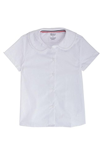 Short Sleeve Girls Blouse (French Toast Little Girls' Short Sleeve Peter Pan Blouse With Lace Trim, White, 5)