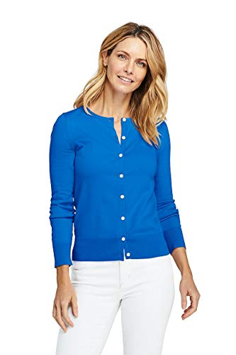 Lands' End Women's Petite Supima Cotton Cardigan Sweater, XS, Vibrant Blue