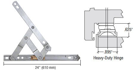 Truth 24'' Heavy-Duty 4-Bar Stainless Steel Window Hinge