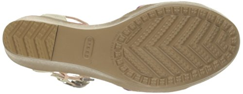Crocs - Frauen Leighii Anklestrap- Graphic Keilsandale, EUR: 37.5, Stucco/Gold