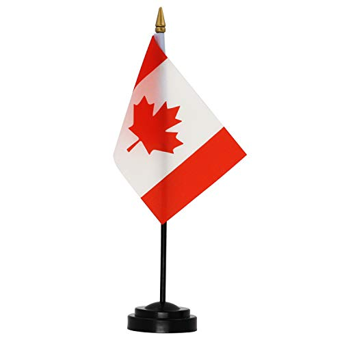 Anley Canada Deluxe Desk Flag Set - 6 x 4 Inches Miniature Canada Desktop Flag with 12