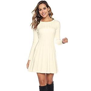 Hawiton Robe Pull pour Femme, Robe Élégante Femme d'hiver à Col Rond/Col Roulé, Robe Taille Haute Femme à Manche Longue…